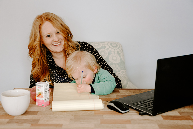 Helping Hands - Brittany Cycholl of Franklin has been working at home while her husband, Danny, is a stay-at-home dad for their son, Gus. //. Courtesy of Brittany Cycholl