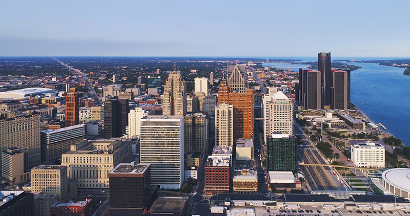 Detroit Michigan Downtown skyline Aerial Sunset