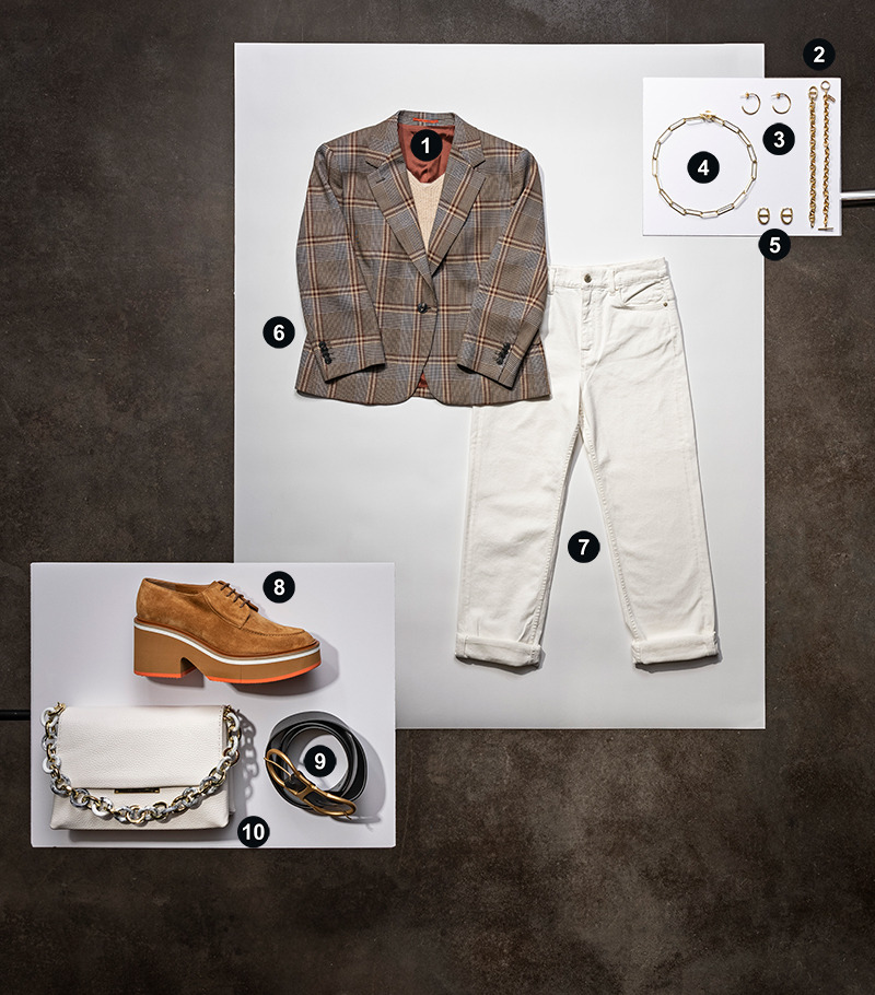 A three panel stylized display of clothing. The upper right has a bracelet, two pairs of hoop earrings, and a necklace. Down and left from that is a plaid blazer over a beige camisole and a pair of white jeans. To the bottom left of that is a pair of brown platform shoes, a white crossbody bag, and a black belt.