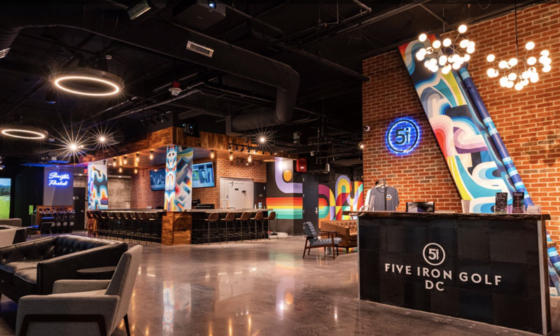 Five Iron Golf, location in Washington, D.C. is pictured, is coming to the Cambia Hotel-Downtown Detroit in 2022. // Courtesy of Five Iron Golf