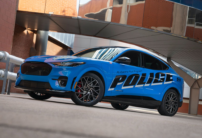 Michigan State Police are testing a police vehicle concept based on the Ford Mustang Mach-E SUV. // Courtesy of Ford Motor Co.
