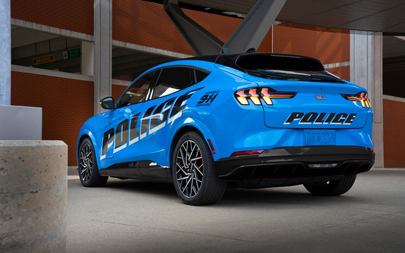 The Ford Mustang Mach-E SUV is the first fully electric vehicle pass testing by Michigan State Police. // Courtesy of Ford