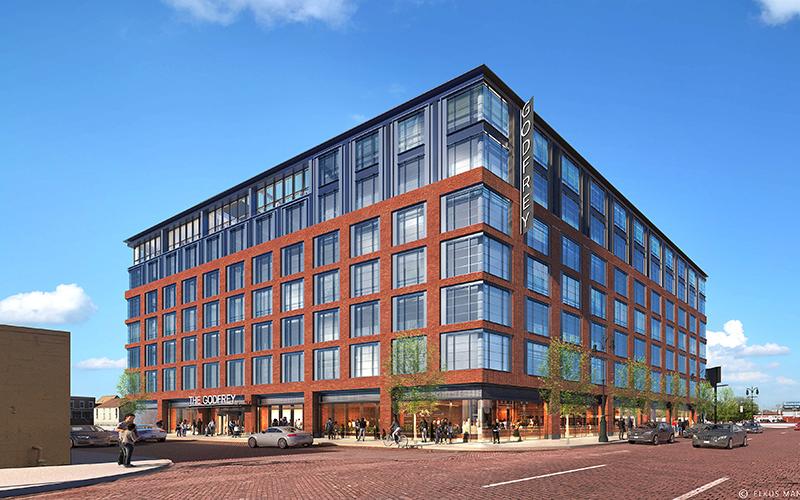 rendering of the exterior of the new Godfrey Hotel Detroit in Corktown.