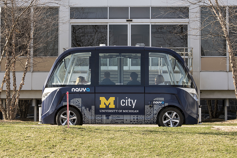 """the 2017 Autonom driverless shuttle bus used at the Mcity test facility, which will be on display in The Henry Ford's """"Collecting Mobility: New Objects, New Stories"""" exhibit opening Oct. 23. // Courtesy of the University of Michigan"""