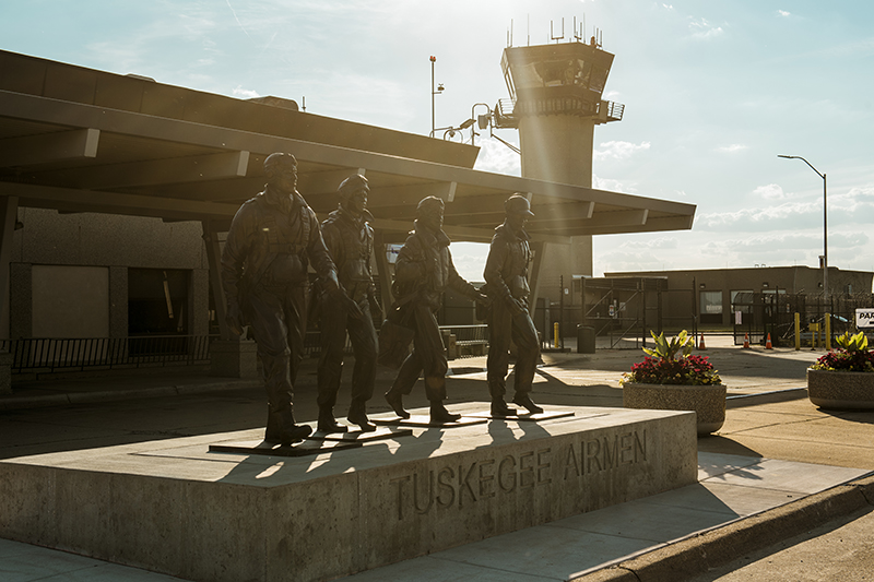 A monument to the Tuskegee Airmen Detroit 100th Composite Squadron outside Coleman a. young airport in Detroit