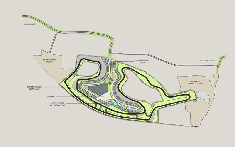 a map of the proposed Motorsports Gateway Howell Automotive Country Club