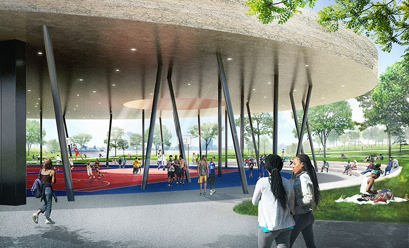 """A rendering of the William """"Bill"""" Davidson Sport House at the future Ralph C. Wilson Jr. Centennial Park. // Courtesy of the Detroit Riverfront Conservancy"""
