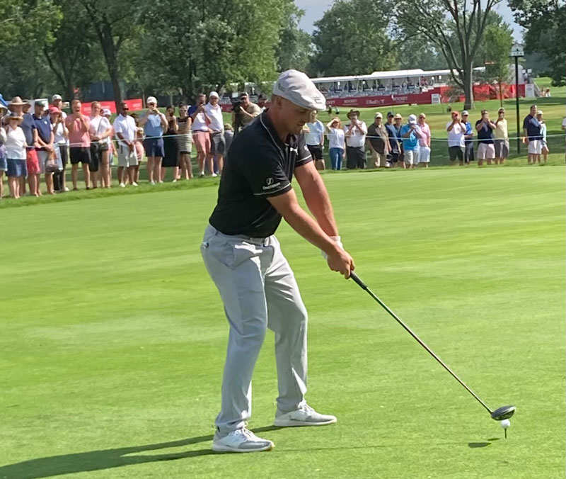 Bryson DeChambeau tees it up at the 2021 Rocket Mortgage Classic. // Courtesy of Tim Keenan