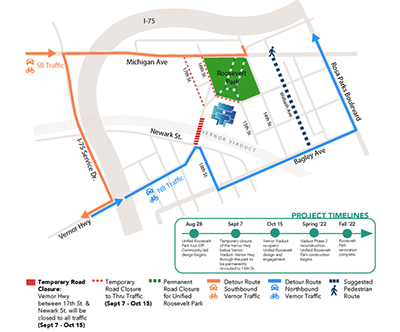 A map of the road closures and rerouting that will result from the Roosevelt Park unification project announced by the city of Detroit today. // Courtesy of the city of Detroit