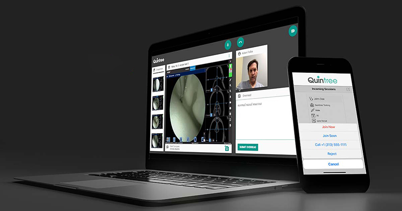 A laptop and smartphone showing Quintree's telemedicine platform.