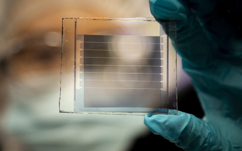 A 20 percent transparency, 30-year solar cell module built by Xinjing Huang, a doctoral student. // Photograph by Robert Coelius