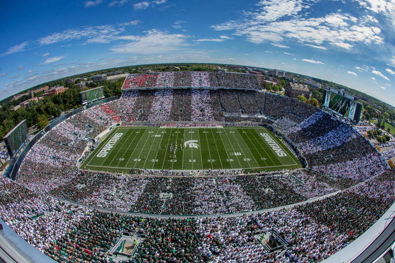 birds eye view of the michigan state spartans football stadium at 50 yard line