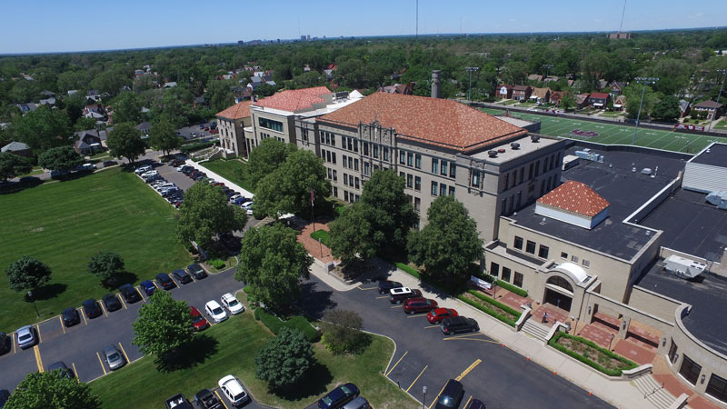 an aerial shot of the U of D Jesuit campus