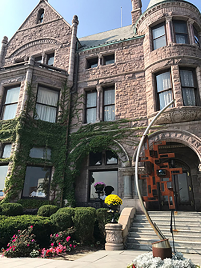 the exterior of the whitney mansion in detroit