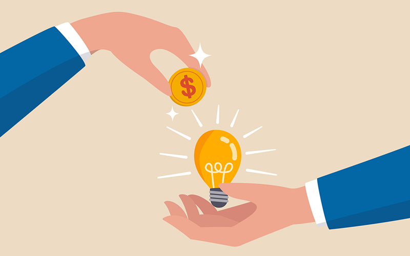 """animated hand drops a coin onto a hand holding an """"idea"""" lightbulb"""
