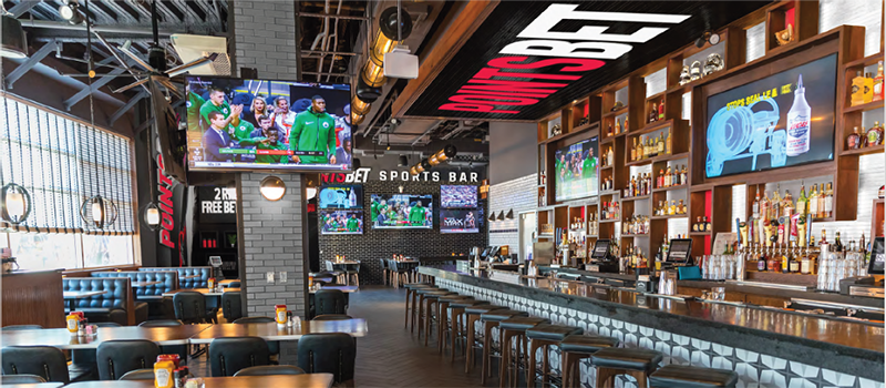 the interior of pointbet sports bar in LCA in detroit