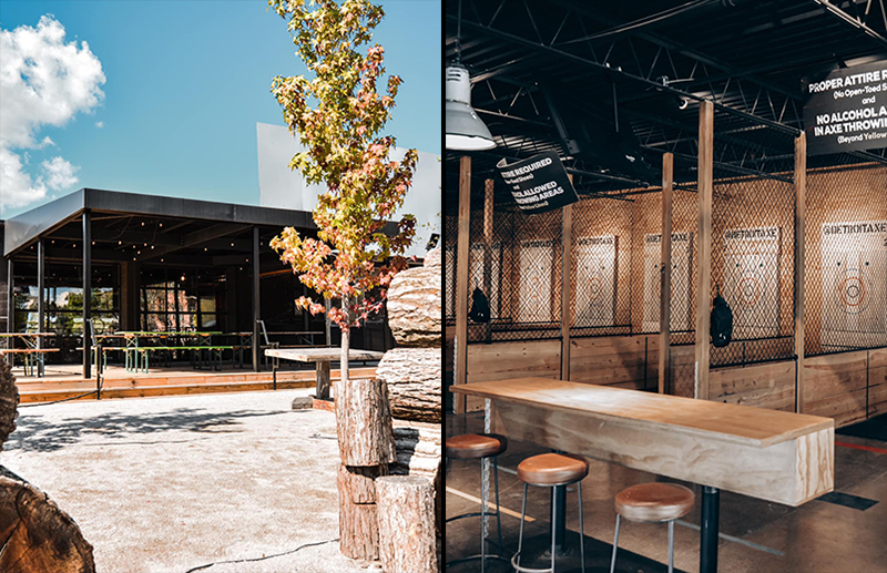 The exterior and interior of Detroit Axe, which will open in The Yard at Corktown on Oct. 15. // Courtesy of Detroit Axe