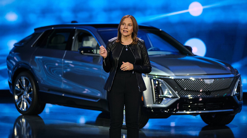 GMs chair and CEO Mary Barra addressing investors at the company's Warren Technical Center regarding its plans to double revenue and increase margins. // Courtesy of GM