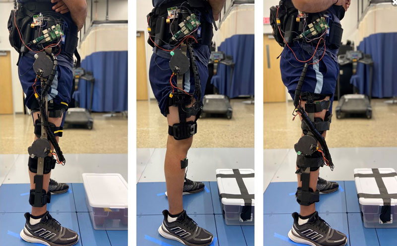 Preliminary knee and hip designs for a new powered exoskeleton system being developed by the University of Michigan. // Courtesy University of Michigan