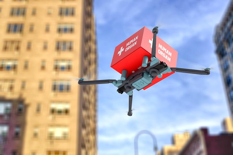 a drone delivering medical cargo