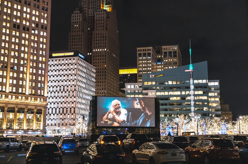 The Monroe Street Drive-In Powered by Emagine returns to downtown Detroit Nov. 12. // Courtesy of Bedrock