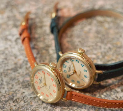 Dials on Shinola's new Pewabic Runwell and Birdy watches are crafted from repurposed tiles. // Courtesy of Shinola